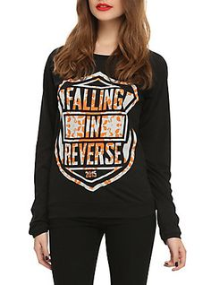 Falling In Reverse Shield Logo Girls Pullover Top, BLACK, hi-res