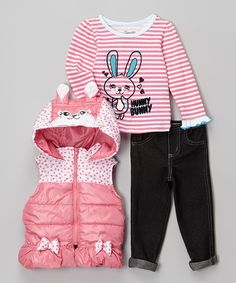 Look at this Pink Bunny Zip-Up Hooded Vest Set - Infant & Toddler on #zulily today!
