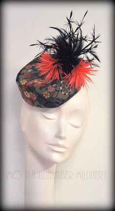 Asian inspired pillbox hat BY MONIKA NEUHAUSER #HatAcademy #Millinery