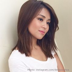 Simple but pretty kathryn bernardo hairstyle, kathryn bernardo outfits, hairstyles haircuts, asian hairstyles Bridal Hairstyle For Reception, Bridal Hair Updo, Medium Long Hair, Medium Hair Styles, Curly Hair Styles, Hairstyles With Bangs, Girl Hairstyles, Asian Hairstyles, Kathryn Bernardo Hairstyle