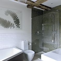 Green and white bathroom | Black grout, Bathroom designs and Grout