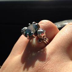 Engagement ring #ring #silver #skull #karasujewellery #topaz   By karasujewellery.com