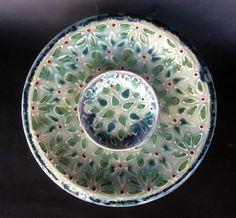 Ceramic, handmade, slab built crudité set. Slip trail mandala design with glaze. Handmade Pottery, Mandala Design, Slip, Glaze, Trail, Ceramics, Tableware, Pattern, Enamel