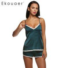 0a7b4197bab63 Ekouaer Женская одежда для лета Шорты для женщин Наборы для ухода за кожей  v-образным