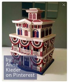 This is a creation of Anne Kieder using SVGCUTS Mistletoe Manor. What an amazing creation she did. 3d Paper Projects, 3d Paper Crafts, Diy Craft Projects, Paper Crafting, Craft Ideas, Diy Paper, Patriotic Crafts, Patriotic Decorations, Halloween Decorations