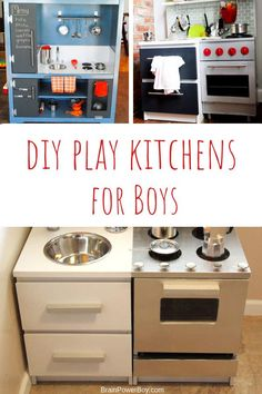 Yes, boys like play kitchens too! Make one of these DIY play kitchens for your little boy. It will get used a lot. They absolutely love these. So many cool ideas, the only hard part will be choosing which one to make. Toddler Play Kitchen, Ikea Play Kitchen, Diy Kitchen, Play Kitchens For Toddlers, Crafts For Boys, Diy For Kids, Activities For Boys, Preschool Ideas, Teen Bedroom Designs