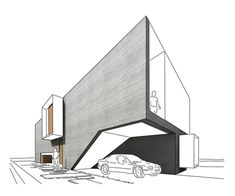 nice design - car, stairs, living space