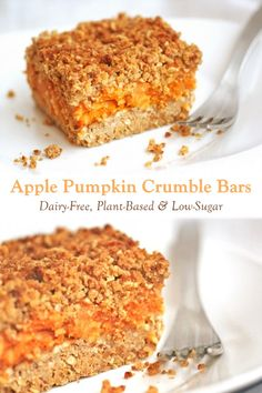 Low Sugar Vegan Apple Pumpkin Crumble Bars Recipe Easy Gluten Free Desserts, Gluten Free Cakes, Vegan Dessert Recipes, Dairy Free Recipes, Whole Food Recipes, Cake Recipes, Vegan Christmas Desserts, Easter Desserts, Homemade Pumpkin Puree