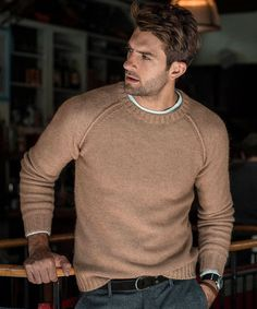 Raglan Crew Sweater in Camel
