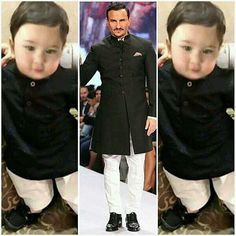 Taimur Ali Khan apes father Saif Ali Khan's fashion sense and boy does he look ROYAL - Like father, like son! Taimur Ali Khan Pataudi looks every bit a Nawaab in this miniature Pathani suit - View Pic Bollywood Stars, Indian Bollywood, Bollywood Fashion, Family Outfits, Baby Boy Outfits, Kids Outfits, Little Boy Fashion, Kids Fashion Boy, Taimur Ali Khan Pataudi