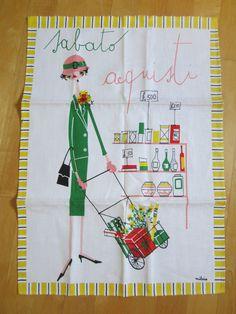Genial Vintage MILVIA Towel Italian Saturday Shopping Day