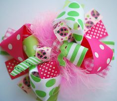 boutique PINK LADYBUG FUNKY fun hair bow clip by andjane on Etsy, $12.99