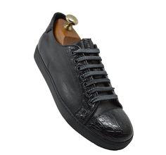 Calzoleria Toscana 5584 Black Crocodile Sneaker