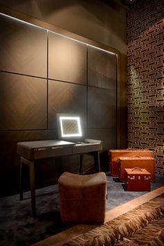 Diamond pattern wood veneer panels with reveals