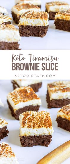 Fudgy keto brownie base flecked with espresso, topped with cream cheese frosting and sprinkled with cacao powder. Fudgy keto brownie base flecked with espresso, topped with cream cheese frosting and sprinkled with cacao powder. Tiramisu Brownies, Keto Brownies, Ketogenic Desserts, Low Carb Desserts, Ketogenic Diet, Brownie Recipes, Dessert Recipes, Paleo Recipes, Health Recipes