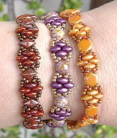 Silky Stacker free pattern at AroundTheBeadingTable.com ~ Beading Jewelry…                                                                                                                                                                                 More