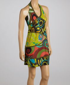Another great find on #zulily! Green & Red Abstract Circle Halter Dress by Rising International #zulilyfinds