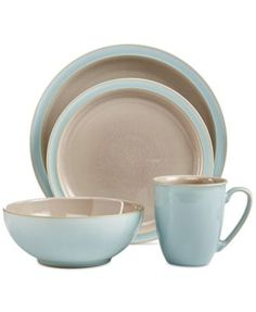 Denby Dinnerware, Duets Taupe and Blue 4 Piece Place Setting - Casual Dinnerware - Dining & Entertaining - Macy's Bridal and Wedding Registry Modern Dinnerware, Casual Dinnerware, Stoneware Dinnerware, Dinnerware Sets, Brown Dinnerware, Denby Pottery, Dish Sets, Kitchen Items, Kitchen Dining