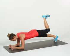 Elbow plank is tough enough, but make it even more challenging by adding a booty-strengthening donkey kick. From elbow plank position, bend your right knee, Gym Video, Donkey Kicks, Plank Workout, Fitness Diet, Fitness Workouts, Strength Training, Glutes, Body Weight, Abs