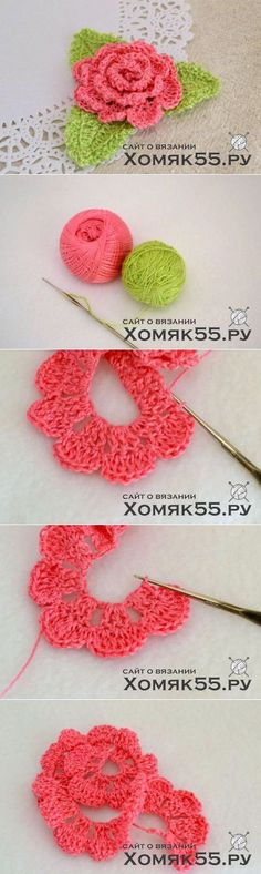 "Crochet Easy 3D Rose Free Pattern [Video] - <a href=""/tag/Crochet"">#Crochet</a> 3D Flower Motif Free Patterns"