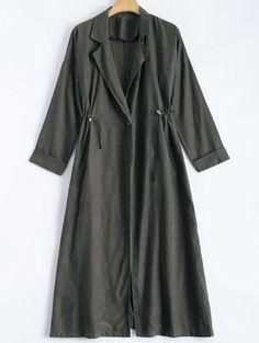 Back Slit Drawstring Maxi Trench Coat GRAY: Jackets & Coats | ZAFUL