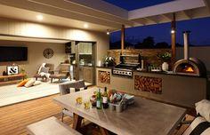 12 indoor/outdoor ideas for a stunning entertaining area Built In Braai, Outdoor Rooms, Outdoor Decor, Outdoor Ideas, Indoor Outdoor, Backyard Ideas, Tv Decor, Home Decor, Decor Ideas