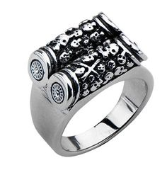Stainless Steel Two Bar Scroll Skull Ring