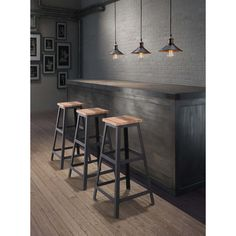 Rustic and modern meet in this smart Cora barstool. This unique stool features an industrial-style triangular metal base that is capped by a sturdy distressed wood seat, making this piece perfect for any modern or transitional home.