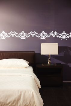 Wall Decals, Damask, Decorative Border, Flowers, Vines, Leaves, Branches, Swirls -WALLTAT.com Art Without Boundaries