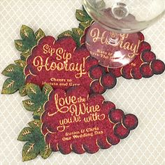 Buy Personalized Wine Grape Cluster-Shaped Theme Cork Coasters and other party favors and personalized gifts. Wine Related Gifts, Gifts For Wine Lovers, Personalized Coasters, Personalized Favors, Wine Wedding Favors, Party Favors, Cork Coasters, Wine Parties, Texture Design