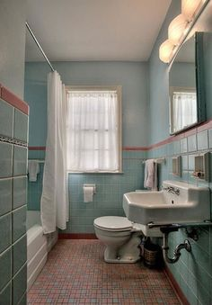 What my bathroom probably looked like before it got knotty-pined. I still have the same sink, toilet and tub. 1949 time capsule house