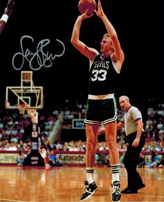 438853513d6 Larry Bird Signed Boston Celtics Green Jersey Action Jump Shot 8x10 Photo