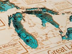 A Wooden Lake, 3D scale Proyection of almost any North American Lake engraved in a solid wood plack.
