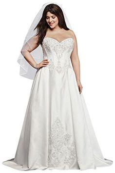 b8c6a779de01 David's Bridal Strapless Satin Plus Size Ball Gown Wedding Dress Style  9WG3814 at Amazon Women's Clothing store: