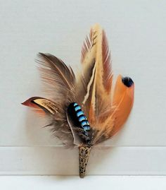 pheasant and jay feather pin, buttonhole, hatpin/ brooch Jay Feather, Feather Bouquet, Large Feathers, Pheasant Feathers, Shotgun Cartridges, Feather Crafts, Tie Pin, Blessed Mother, Boutonnieres