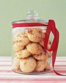 Coconut Cookies - Martha Stewart Recipes - tested recipe on Very good. Cookies were not super sweet (which is a good thing). Baked cookies for minutes. Next time I will add toasted pecans to give the cookies a deeper flavor. This recipe is a winner. Coconut Cookies, Coconut Macaroons, Coconut Biscuits, Sugar Cookies, Easy Cookie Recipes, Dessert Recipes, Desserts, Cookie Ideas, Bar Recipes