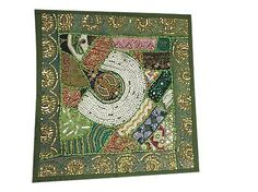 SOFA-DECOR-TOSS-PILLOW-SHAM-GREEN-VINTAGE-PATCHWORK-EMBROIDERED-CUSHION-COVER