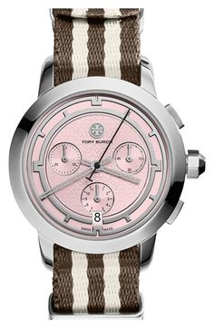 Tory Burch Chronograph Nylon Strap Watch, 37mm available at #Nordstrom
