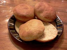 Whole wheat dairy free hamburger buns. One reviewer only used whole wheat flour. Also, can substitute honey for sugar.