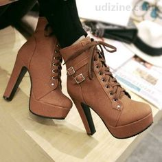 Trendy Women's High Heel Boots With Buckles Solid Color brown Round Toe Chunky Heel PU Lace-Up Solid 1534309