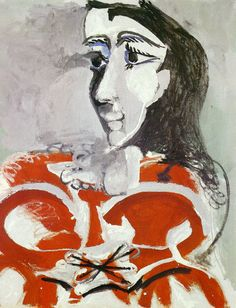 """expressionism-art: """" Bust of woman by Pablo Picasso Size: 99.5x80.5 cm Medium: oil on canvas"""""""