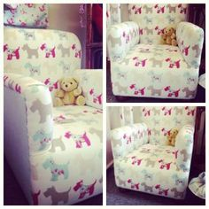 """10 August - Today's favourite lot - a beautifully refurbished children's chair in Clarke and Clarke Scotties taupe print. Great for a child's bedroom or playroom. For sale at a fantastic price of £75!  To buy please visit """"Vivienne Rose"""" online stall http://www.vintassion.com/vivienne-rose/S35"""