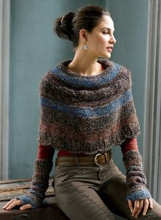 Capelet (cropped cape or poncho) knit of tweeded bouclé yarns in a gradation of hues. By Peruvian Connection. Knitted Poncho, Knitted Shawls, Crochet Shawl, Knit Crochet, Knit Shrug, Outlander Knitting, Crochet Capas, Knit Fashion, Knitting Projects