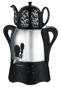 Ovente Samovar Stainless Steel electric tea maker - a stunning black and silver ceramic teapot sits atop the kettle. Coffee Maker Reviews, Best Coffee Maker, Contemporary Teapots, Best Espresso Machine, Ceramic Teapots, Kitchen Witch, Tea Party, Tea Cups, Stainless Steel