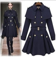 2014 fashion double breasted cape poncho woolen overcoat manteau long design pea coats outerwear for women / ladies C195-inWool & Blends fro...