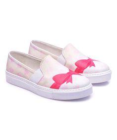 Look what I found on #zulily! White & Pink Bow Sneaker #zulilyfinds