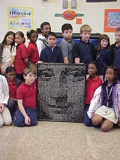 domino Mona Lisa - the 4th graders put her together using a binary code system, but it was really a value lesson