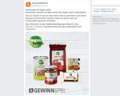 Gewinnt 45 Vegan Leben-Probierpakete! Auf der Facebook-Seite vonAllyouneedkönnt ihr nur noch bis heute...