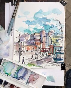 The colors of tula city sketch by artist kristina gavrilova Watercolor Journal, Watercolor Drawing, Watercolor Paintings, Watercolors, Voyage Sketchbook, Art Sketchbook, City Sketch, Sketch A Day, Watercolor Architecture