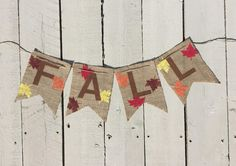 Fall Banner - Leaf Banner - Thanksgiving Banner - Fall Decor - Leaf Decor - Autumn Decor - Burlap Banner  - Fall Mantel Decor - Fall Decora by 3BlessingsBurlap on Etsy